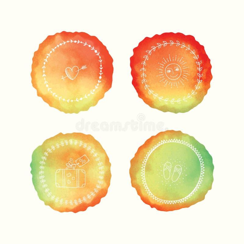 Διανυσματικοί λεκέδες watercolor, συρμένα χέρι doodle στοιχεία Χρωματισμένοι χέρι κύκλοι καθορισμένοι απεικόνιση αποθεμάτων