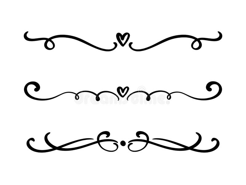 Διανυσματικοί εκλεκτής ποιότητας διαιρέτες και διαχωριστές βαλεντίνων γραμμών κομψοί, στρόβιλοι και διακοσμητικές διακοσμήσεις γω διανυσματική απεικόνιση