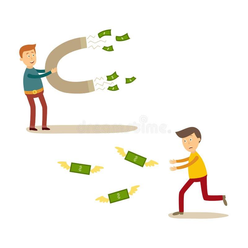 Διανυσματικοί επίπεδοι άνθρωποι που πιάνουν τις σκηνές χρημάτων καθορισμένες ελεύθερη απεικόνιση δικαιώματος