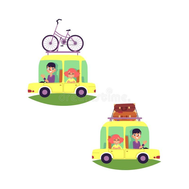 Διανυσματικοί επίπεδοι άνθρωποι που ταξιδεύουν στο σύνολο αυτοκινήτων που απομονώνεται ελεύθερη απεικόνιση δικαιώματος