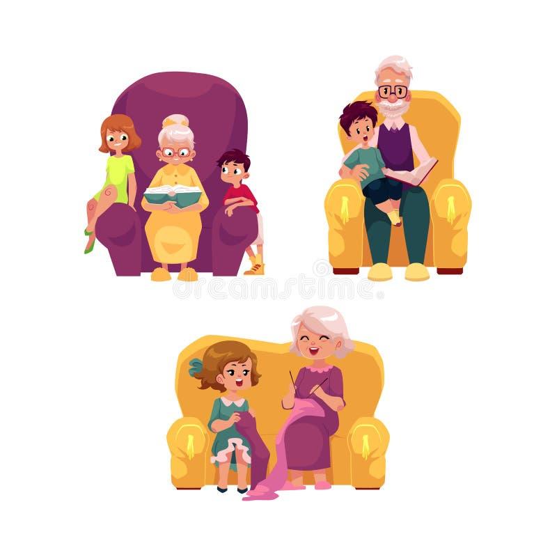 Διανυσματικοί επίπεδοι παππούδες και γιαγιάδες και παιδιά καθορισμένοι απεικόνιση αποθεμάτων