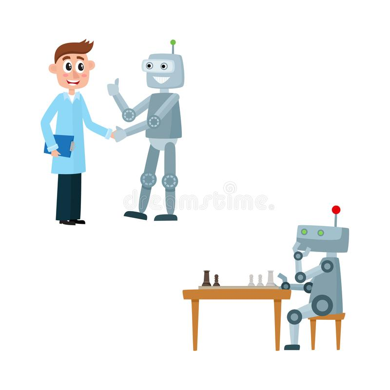 Διανυσματικοί επίπεδοι ρομπότ και άνθρωποι καθορισμένοι διανυσματική απεικόνιση