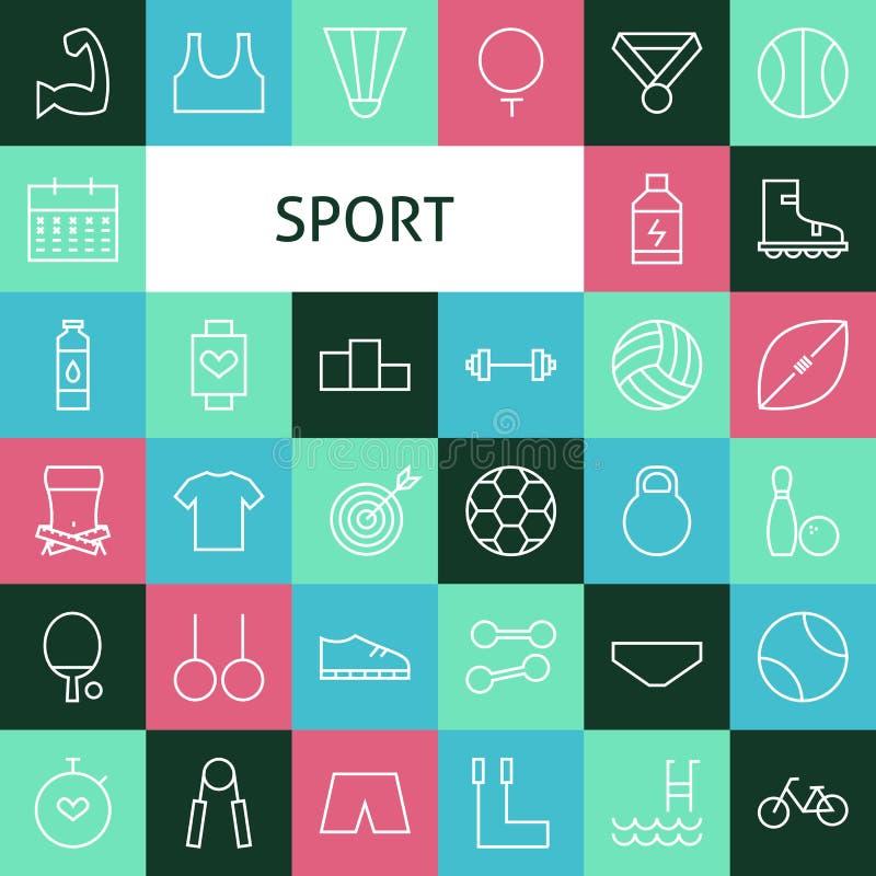Διανυσματικοί επίπεδοι αθλητισμός τέχνης γραμμών σύγχρονοι και εικονίδια αναψυχής καθορισμένοι απεικόνιση αποθεμάτων
