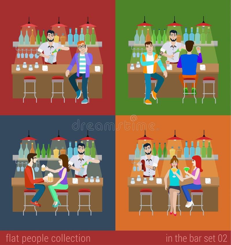 Διανυσματικοί επίπεδοι φίλοι στο μετρητή φραγμών και την μπύρα οινοπνεύματος ποτών μπάρμαν διανυσματική απεικόνιση