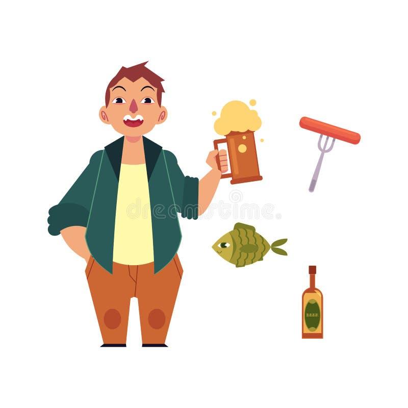 Διανυσματικοί εραστής και σύμβολα μπύρας κινούμενων σχεδίων καθορισμένοι απεικόνιση αποθεμάτων