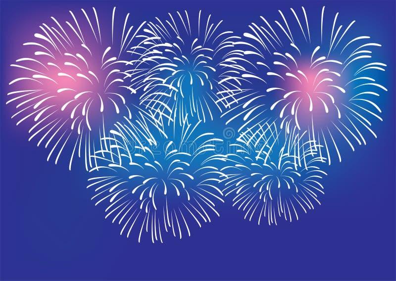 Διανυσματικοί ζωηρόχρωμοι εορτασμός υποβάθρου πυροτεχνημάτων και έννοια κόμματος ελεύθερη απεικόνιση δικαιώματος