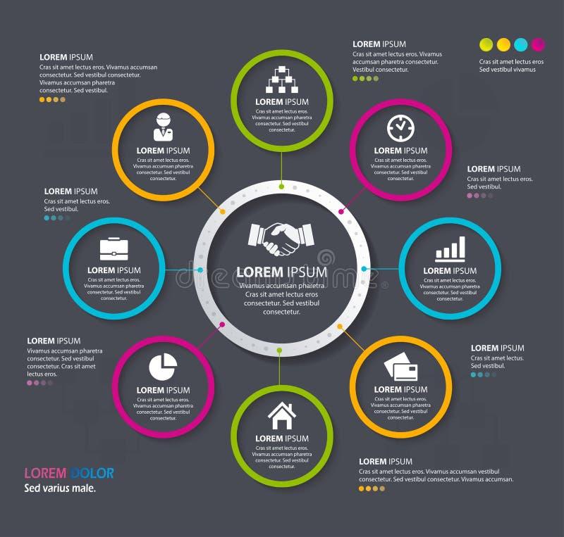 Διανυσματικοί δημιουργικοί κύκλοι σχεδίου Infographic 10 eps διανυσματική απεικόνιση