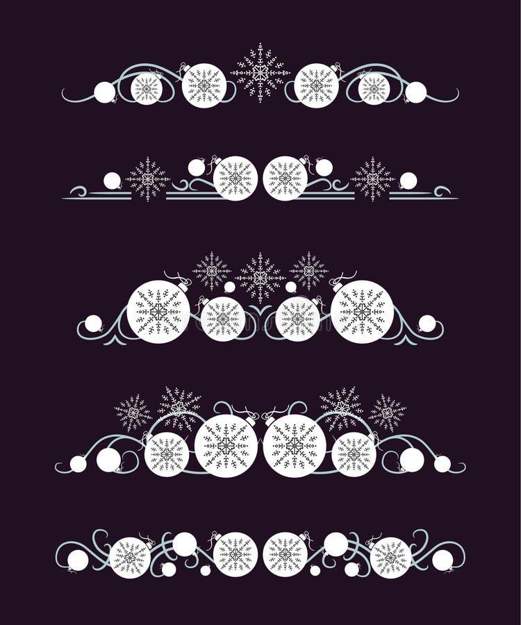 Διανυσματικοί διαιρέτες κειμένων με την άσπρη σφαίρα Χριστουγέννων και γκρίζο snowflake διανυσματική απεικόνιση