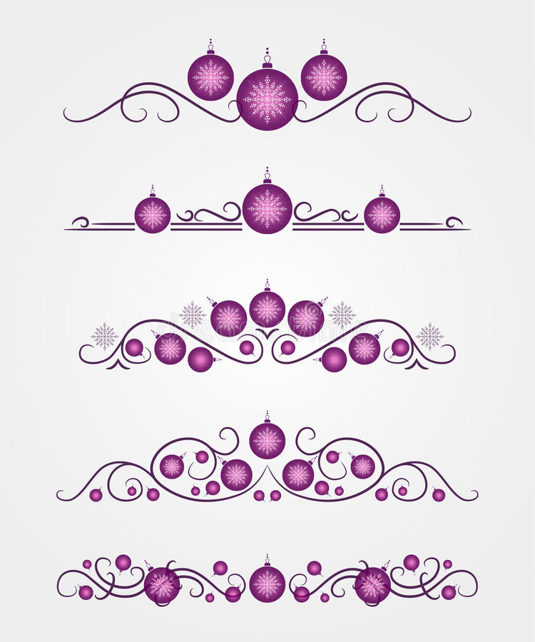Διανυσματικοί διαιρέτες κειμένων με την ιώδη σφαίρα και snowflake Χριστουγέννων διανυσματική απεικόνιση