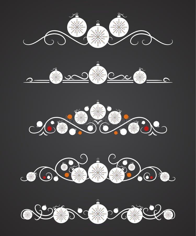 Διανυσματικοί διαιρέτες κειμένων με τη σφαίρα Χριστουγέννων και διακοσμητικό snowflake διανυσματική απεικόνιση