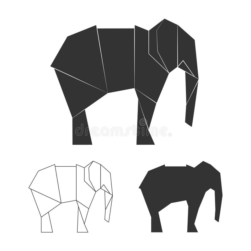 Διανυσματικοί ιαπωνικοί ελέφαντες εγγράφου Σκιαγραφία ελεφάντων άγριων ζώων απεικόνιση αποθεμάτων