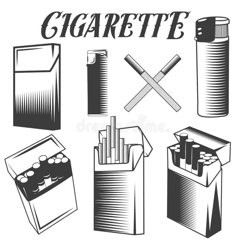 Διανυσματικοί καθορισμένοι τσιγάρο, αναπτήρας και πακέτο των τσιγάρων Καπνίζοντας αντικείμενα στο μονοχρωματικό ύφος στο άσπρο υπ απεικόνιση αποθεμάτων