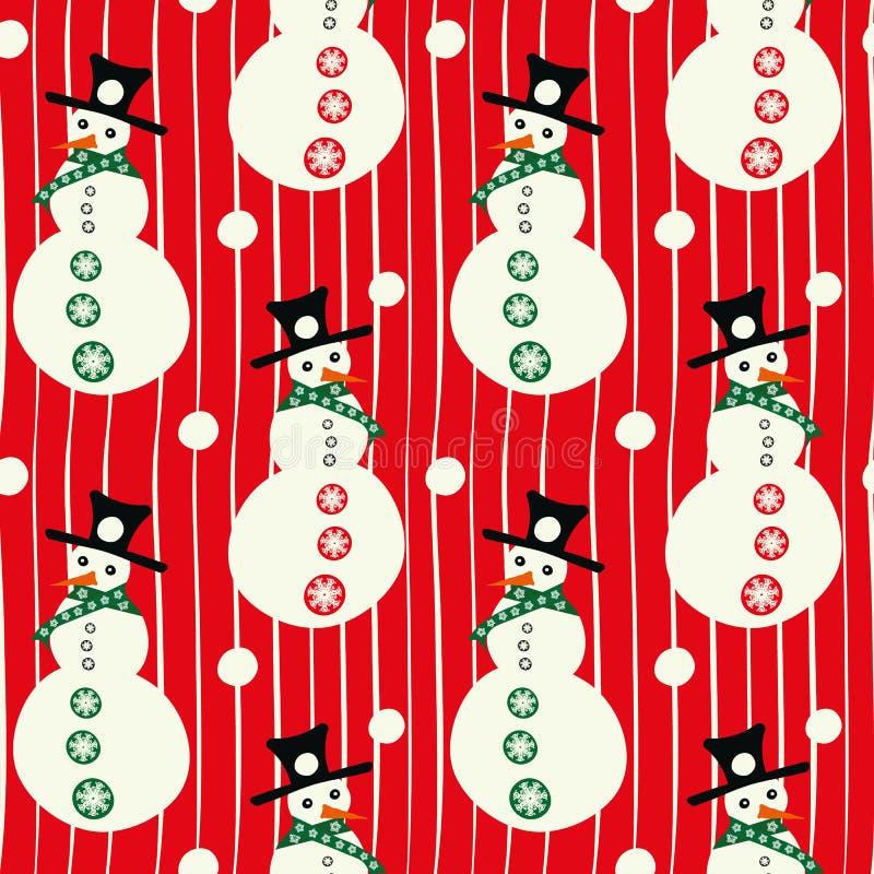 Διανυσματικοί κόκκινοι και λευκοί χιονάνθρωποι smiley με τα καπέλα, με το γραμμικό άνευ ραφής υπόβαθρο σχεδίων χιονιών ελεύθερη απεικόνιση δικαιώματος