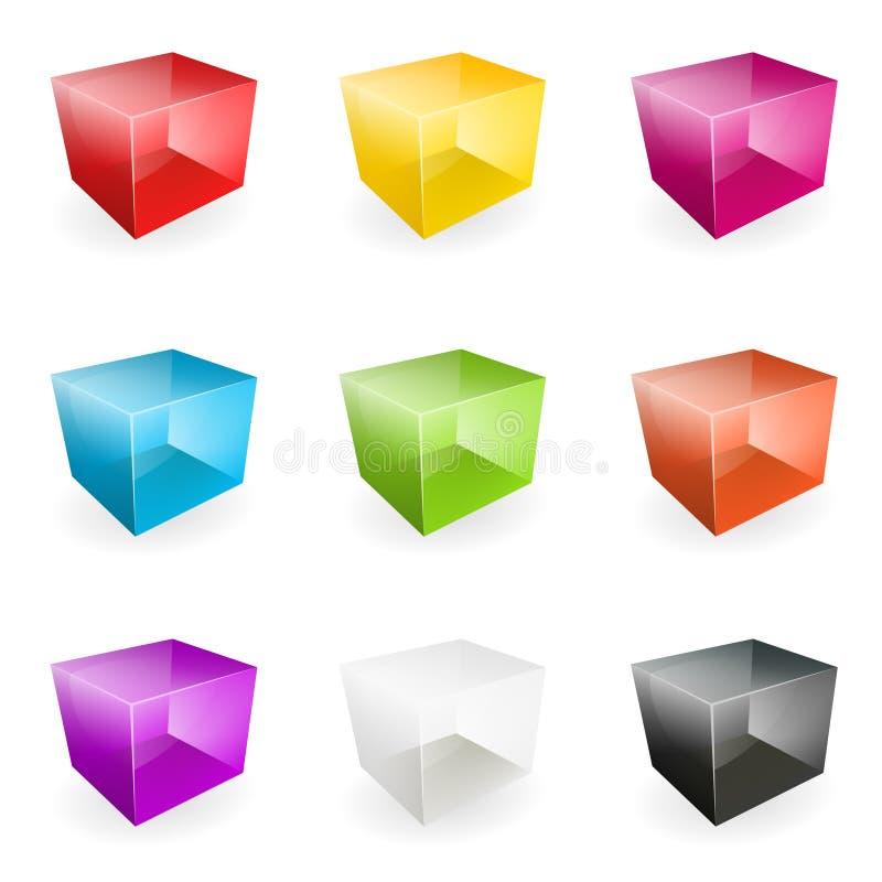 Διανυσματικοί κύβοι γυαλιού απεικόνιση αποθεμάτων