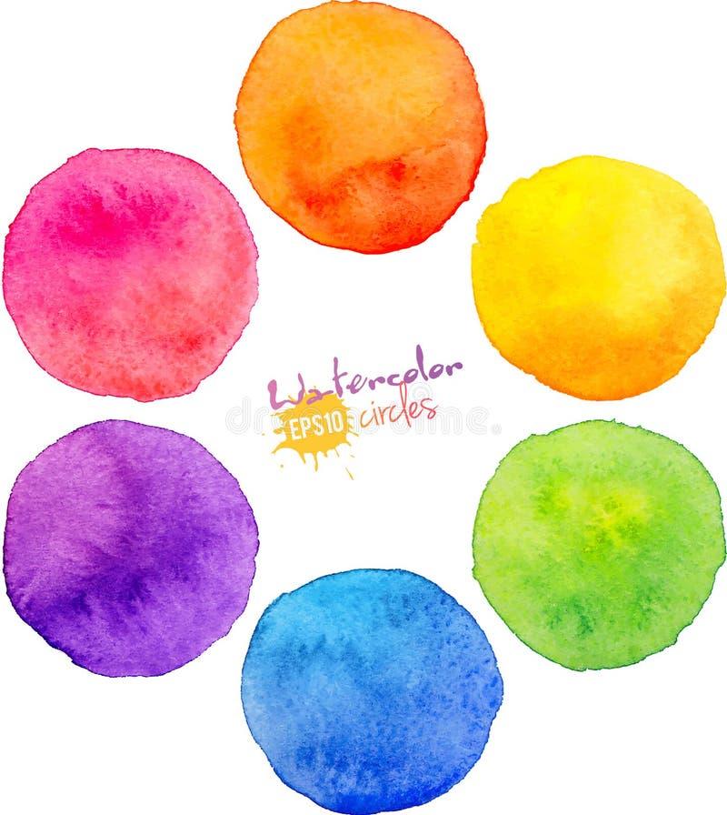 Διανυσματικοί κύκλοι watercolor ουράνιων τόξων ελεύθερη απεικόνιση δικαιώματος
