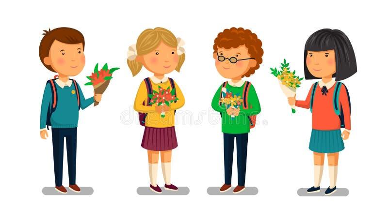 Διανυσματικοί μαθητής και μαθήτρια με το ευπρόσδεκτο πρότυπο κειμένων Welcomre στο σχολικό έμβλημα Ευτυχή αγόρι και κορίτσι με τα απεικόνιση αποθεμάτων