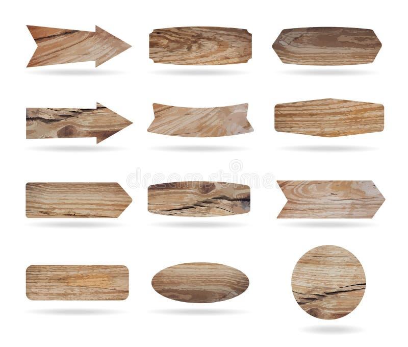 Διανυσματικοί ξύλινοι πίνακες σημαδιών διανυσματική απεικόνιση