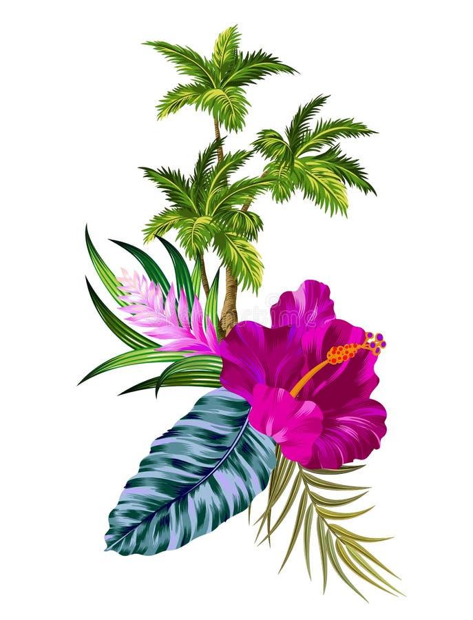 Διανυσματικοί λουλούδια και φοίνικες διανυσματική απεικόνιση