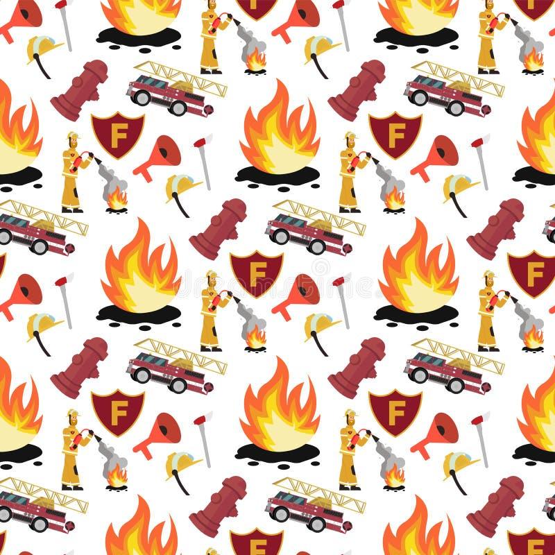 Διανυσματικοί πυροσβέστης σχεδίων εικόνας και πυροσβεστικό όχημα απεικόνιση αποθεμάτων