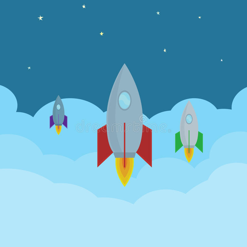 Διανυσματικοί πύραυλοι κινούμενων σχεδίων που πετούν στα σύννεφα στο διάστημα Αφηρημένη εικόνα του προγράμματος ξεκινήματος με τα απεικόνιση αποθεμάτων
