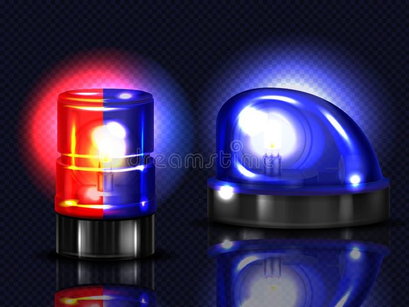 Διανυσματικοί ρεαλιστικοί κόκκινοι, μπλε αναλαμπτήρες Αναγνωριστικό σήμα έκτακτης ανάγκης απεικόνιση αποθεμάτων