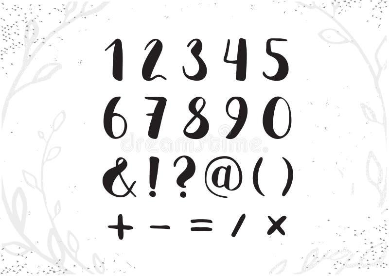 Διανυσματικοί συρμένοι χέρι αριθμοί χειρογράφων από 0 έως 9 Τα ψηφία γραπτά το πνεύμα απεικόνιση αποθεμάτων