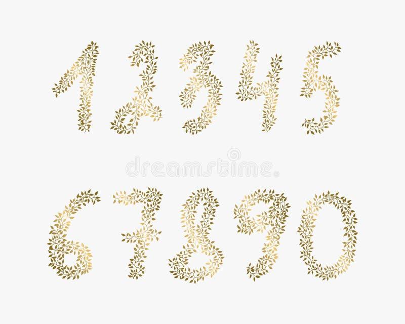 Διανυσματικοί συρμένοι χέρι αριθμοί Χρυσά στοιχεία για τα υπόβαθρα των ιπτάμενων, αφίσες, προσκλήσεις, κάρτες διανυσματική απεικόνιση