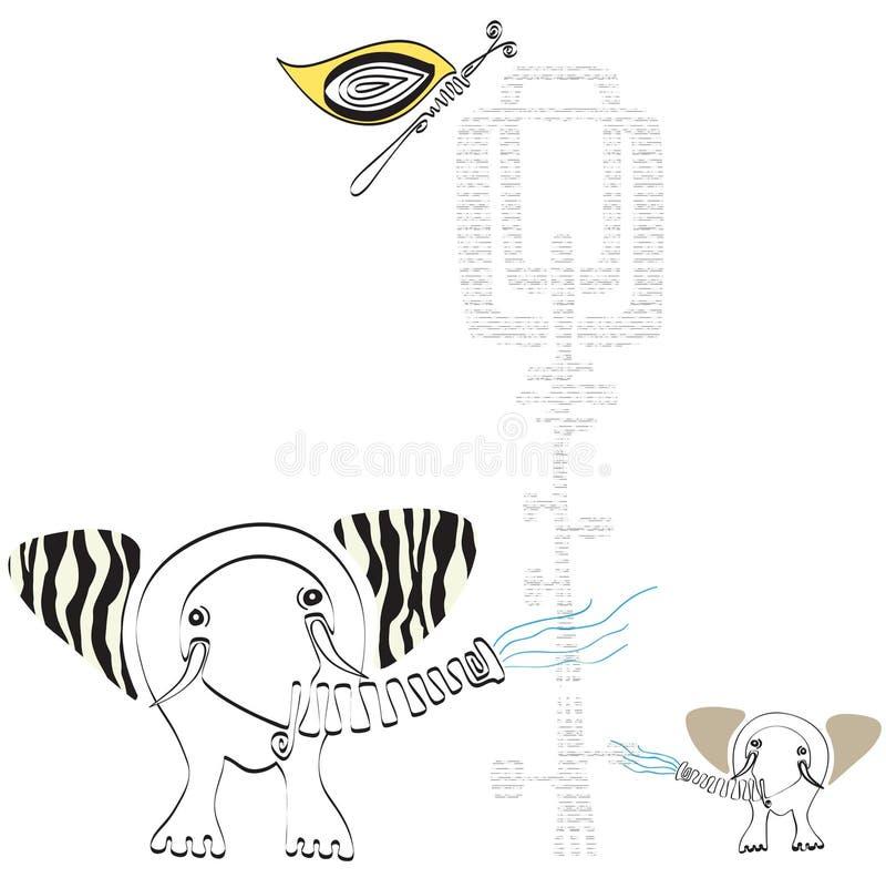 Διανυσματικοί συρμένοι χέρι ελέφαντας και πεταλούδα με το floral σχέδιο (eps10) ελεύθερη απεικόνιση δικαιώματος
