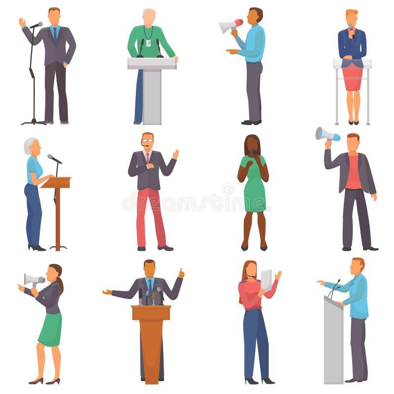 Διανυσματικοί χαρακτήρες ανθρώπων ομιλητών που μιλούν στο επιχειρησιακό γεγονός ή στο σύνολο απεικόνισης παρουσίασης διασκέψεων α διανυσματική απεικόνιση