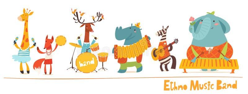 Διανυσματικοί διανυσματικοί χαρακτήρες μουσικών ζώων Μουσική Ethno απεικόνιση αποθεμάτων