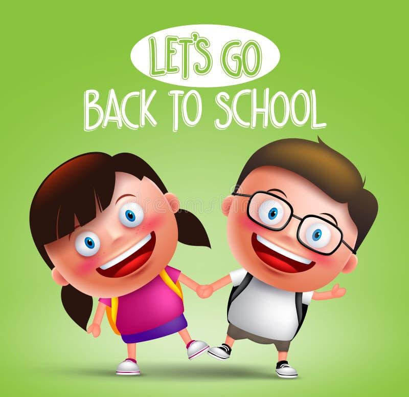 Διανυσματικοί χαρακτήρες σπουδαστών παιδιών που κρατούν την ευτυχή μετάβαση χεριών στο σχολείο ελεύθερη απεικόνιση δικαιώματος