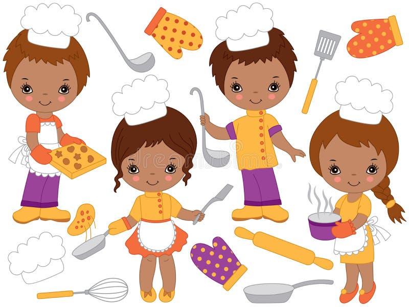 Διανυσματικοί χαριτωμένοι αρχιμάγειρες λίγων αφροαμερικάνων που μαγειρεύουν και που ψήνουν Διανυσματικά μικρά παιδιά διανυσματική απεικόνιση
