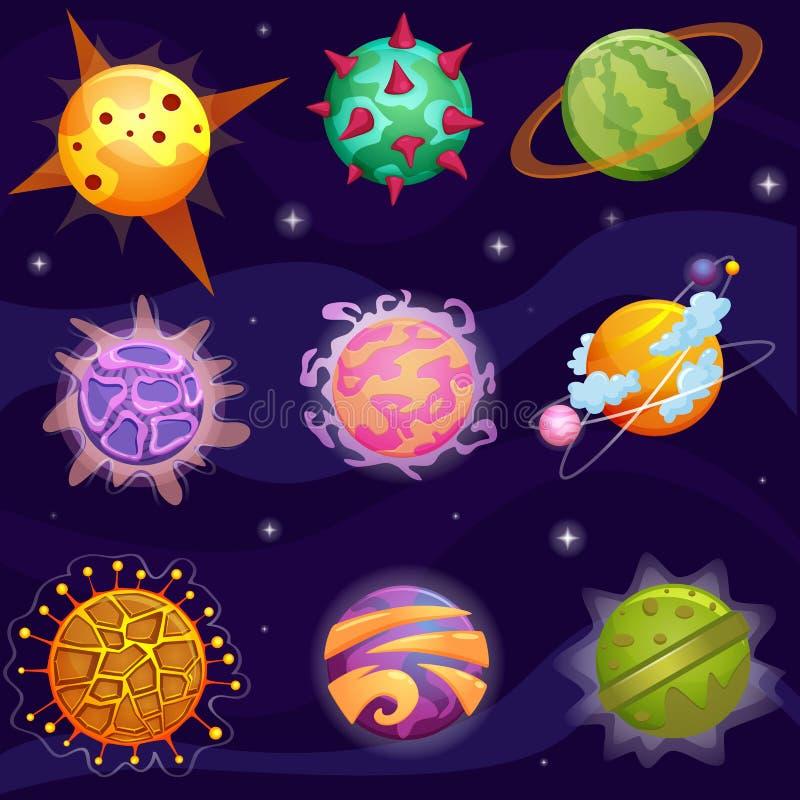 Διανυσματικοί χαριτωμένοι φανταστικοί πλανήτες φαντασίας κινούμενων σχεδίων που τίθενται στο υπόβαθρο αστεριών γαλαξιών ελεύθερη απεικόνιση δικαιώματος