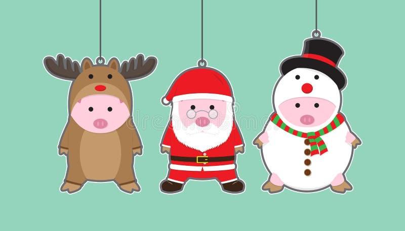 Διανυσματικοί 3 χαριτωμένοι χοίροι στον τάρανδο, Άγιος Βασίλης, κοστούμι χιονανθρώπων ελεύθερη απεικόνιση δικαιώματος