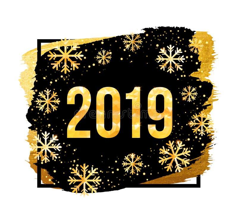 Διανυσματικοί 2019 χρυσοί αριθμοί με το υπόβαθρο και snowflakes κομφετί Πρότυπο για τα εποχιακές ιπτάμενα και την κάρτα χαιρετισμ απεικόνιση αποθεμάτων