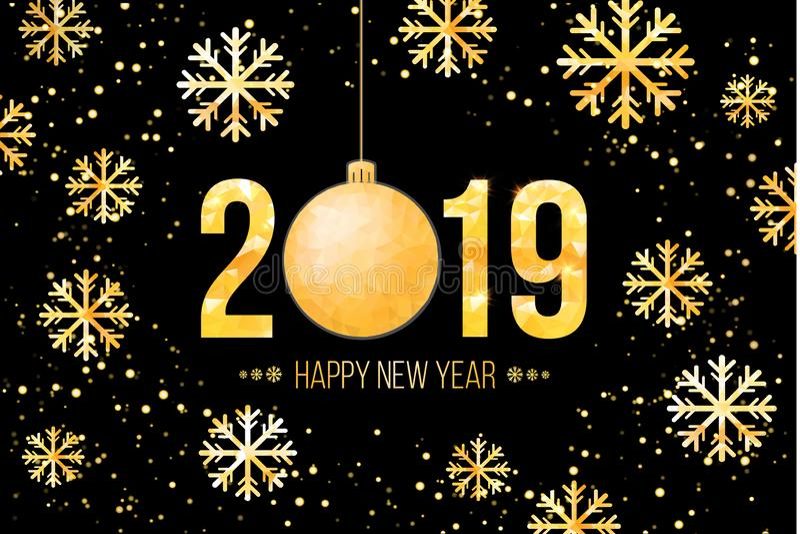 Διανυσματικοί 2019 χρυσοί αριθμοί με το υπόβαθρο και snowflakes κομφετί Πρότυπο για τα εποχιακές ιπτάμενα και την κάρτα χαιρετισμ διανυσματική απεικόνιση