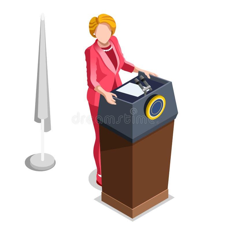 Διανυσματικοί Isometric άνθρωποι εργασίας πολιτικής Infographic εκλογής απεικόνιση αποθεμάτων