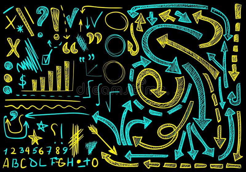 ΔΙΑΝΥΣΜΑΤΙΚΟ μεγάλο σύνολο χέρι-σκιαγραφημένων εικονιδίων Στοιχεία για την παρουσίαση Cian και κίτρινα χρώματα στο μαύρο υπόβαθρο απεικόνιση αποθεμάτων