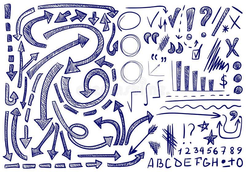 ΔΙΑΝΥΣΜΑΤΙΚΟ σύνολο χέρι-σκιαγραφημένων εικονιδίων Στοιχεία για τη διόρθωση ή τον προγραμματισμό κειμένων Μπλε χρώμα ελεύθερη απεικόνιση δικαιώματος