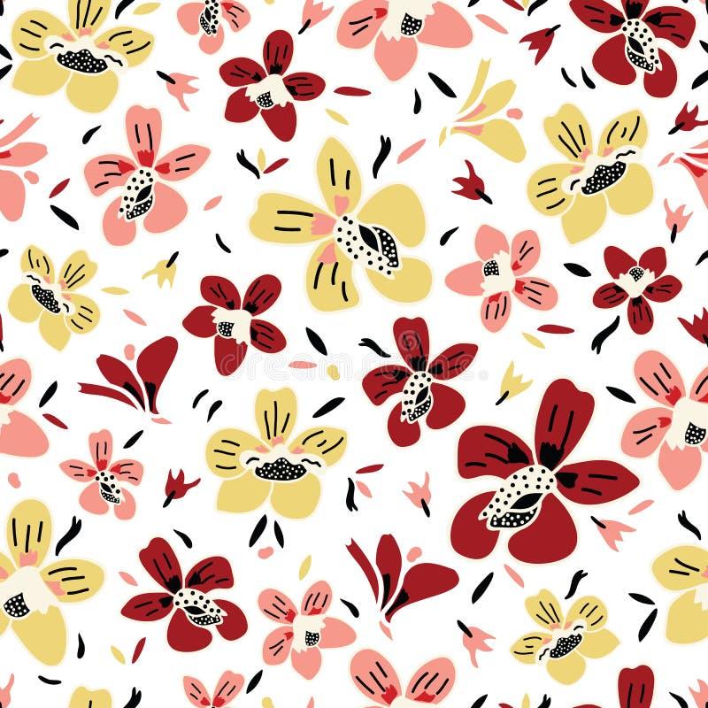Διανυσματικός άνευ ραφής επαναλαμβάνει το ζωηρόχρωμο floral σχέδιο με το ροζ, τη σκουριά και το κίτρινο άσπρου υπόβαθρο λουλουδιώ ελεύθερη απεικόνιση δικαιώματος