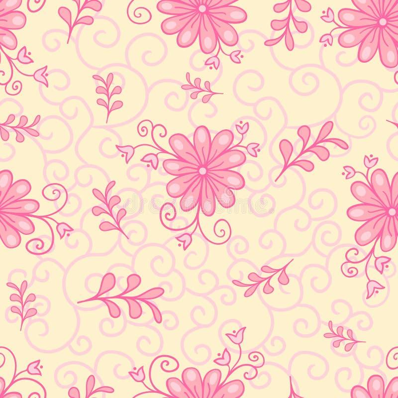 Διανυσματικός άνευ ραφής, επαναλαμβάνοντας τα σχέδια σύστασης πολυτέλειας με τα λουλούδια και τα φύλλα Μονοχρωματικό ροζ διανυσματική απεικόνιση