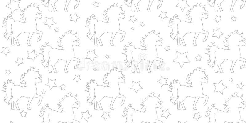 Διανυσματικός άνευ ραφής μονόκερος σκιαγραφιών σχεδίων που απομονώνεται στο άσπρο υπόβαθρο στοκ εικόνες με δικαίωμα ελεύθερης χρήσης