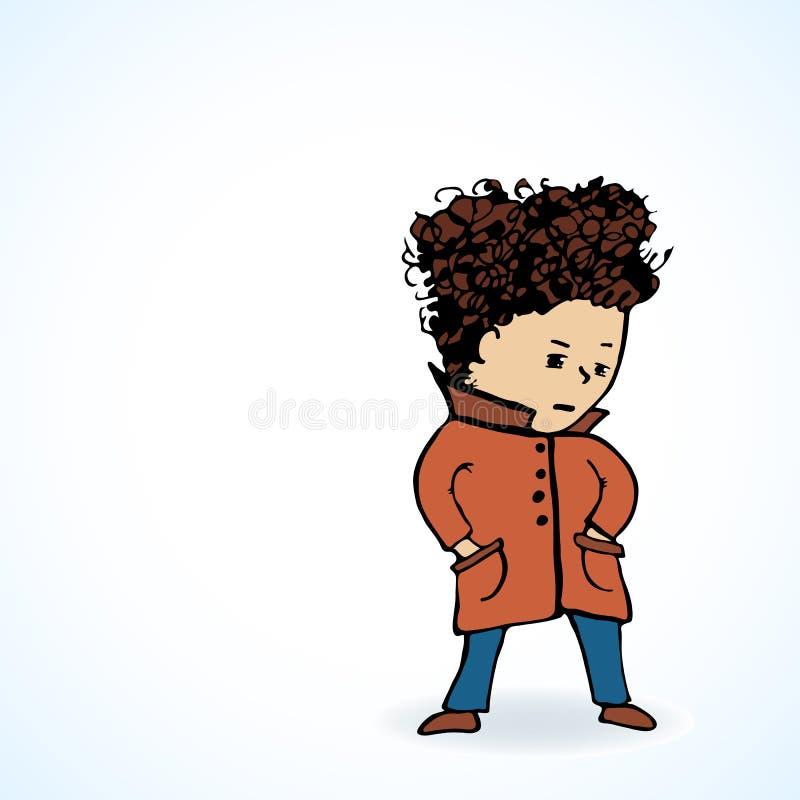 Διανυσματικός έφηβος απεικόνισης σε ένα oooo παλτών διανυσματική απεικόνιση