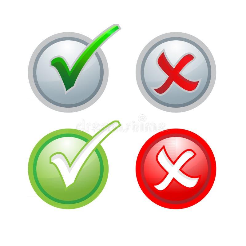 Διανυσματικός έλεγχος σημαδιών κουμπιών σωστός και ανακριβής διανυσματική απεικόνιση
