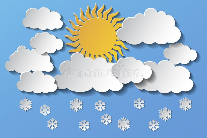 Διανυσματικός ήλιος που κρύβεται πίσω από τα σύννεφα και το χιόνι το απόγευμα 10 eps απεικόνιση αποθεμάτων