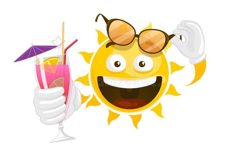 Διανυσματικός ήλιος smiley θερινών κινούμενων σχεδίων απεικόνιση αποθεμάτων