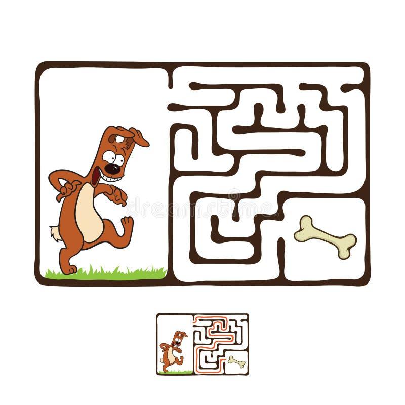 Διανυσματικός λαβύρινθος, λαβύρινθος με το σκυλί ελεύθερη απεικόνιση δικαιώματος
