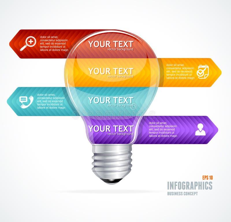 Διανυσματικός λαμπτήρας Σύγχρονο έμβλημα επιλογών infographics απεικόνιση αποθεμάτων
