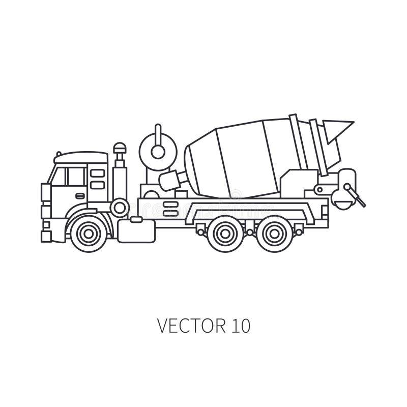 Διανυσματικός αναμίκτης τσιμέντου φορτηγών μηχανημάτων κατασκευής εικονιδίων γραμμών Βιομηχανικό ύφος Εταιρική παράδοση φορτίου ε διανυσματική απεικόνιση