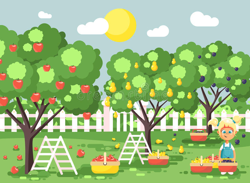 Διανυσματικός απεικόνισης χαρακτηρών κινουμένων σχεδίων παιδιών ξανθός μικρών κοριτσιών κήπος οπωρώνων φθινοπώρου φρούτων συγκομι ελεύθερη απεικόνιση δικαιώματος